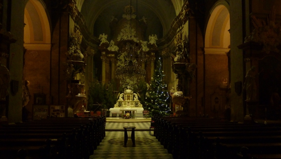 25. prosince 2018 – Vánoční stromeček v kostele Nanebevzetí Panny Marie (2,6 °C)